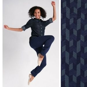 Betabrand Blue Chevron Straight Leg Yoga Pants
